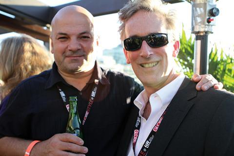 Sol Papadopoulos from Hurricane Films with James Weyman from the Ontario Media Development Corporation